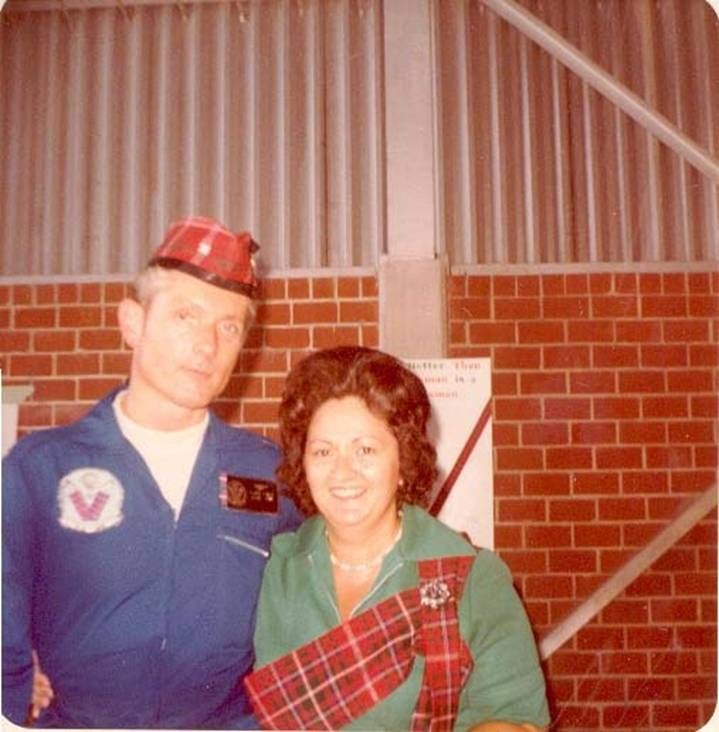 Captain David Page and his late wife, Shirley, circa 1976. Wives of the Commanding Officers of VA-46 wore a sash in MacDougall tartan, similar to the custom observed by the wives of Colonels of Scottish regiments.