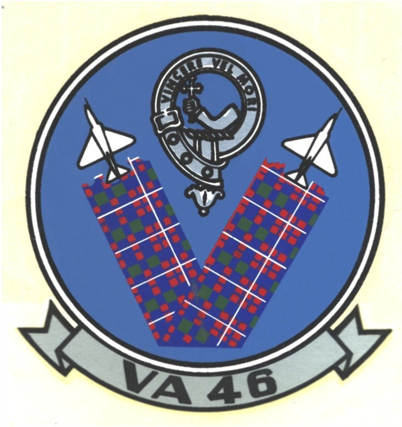 VA-46 squadron insignia, with both the A-4 Skyhawk and A-7 Corsair depicted.