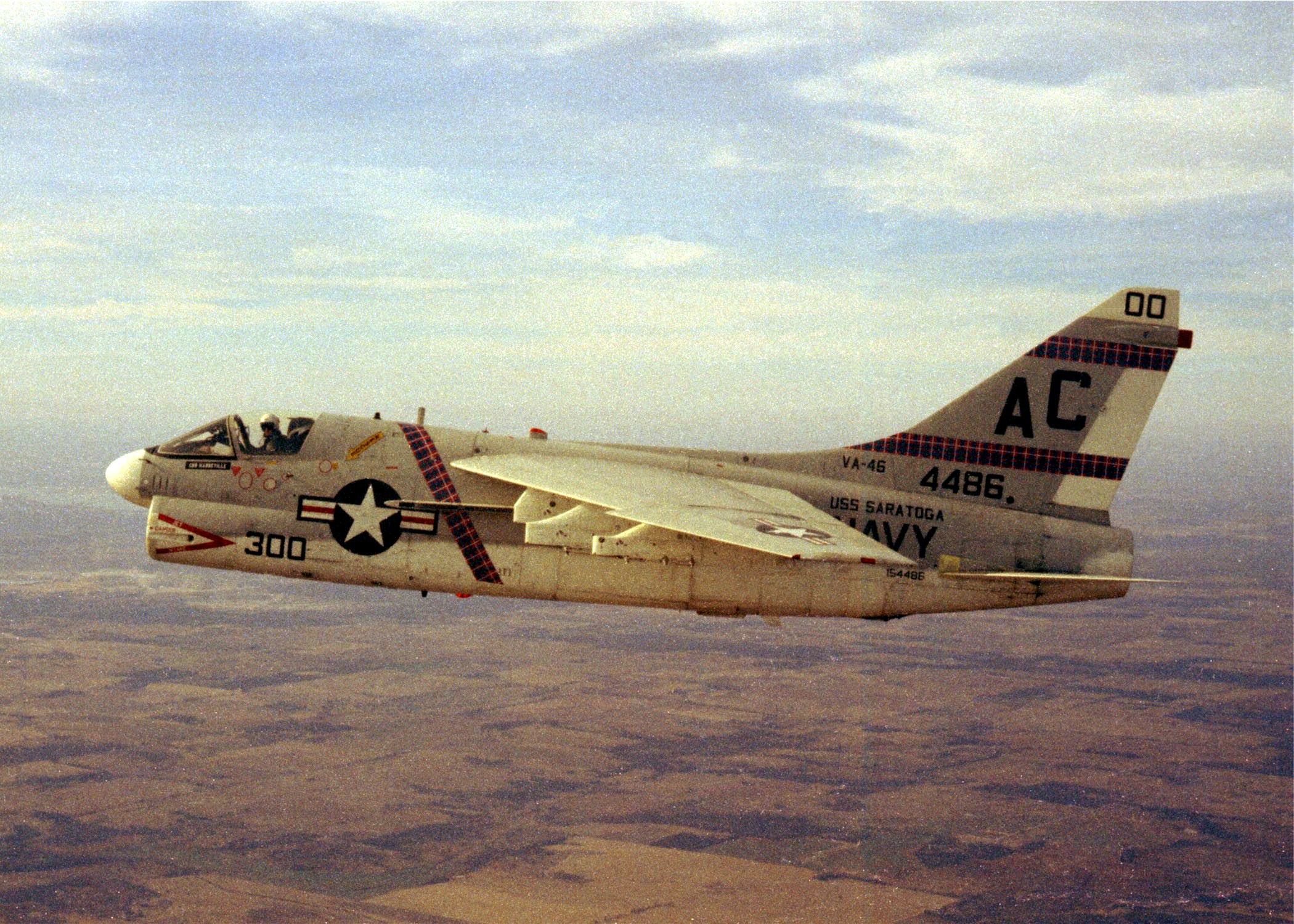 A-7B Corsair in VA-46 paint scheme.