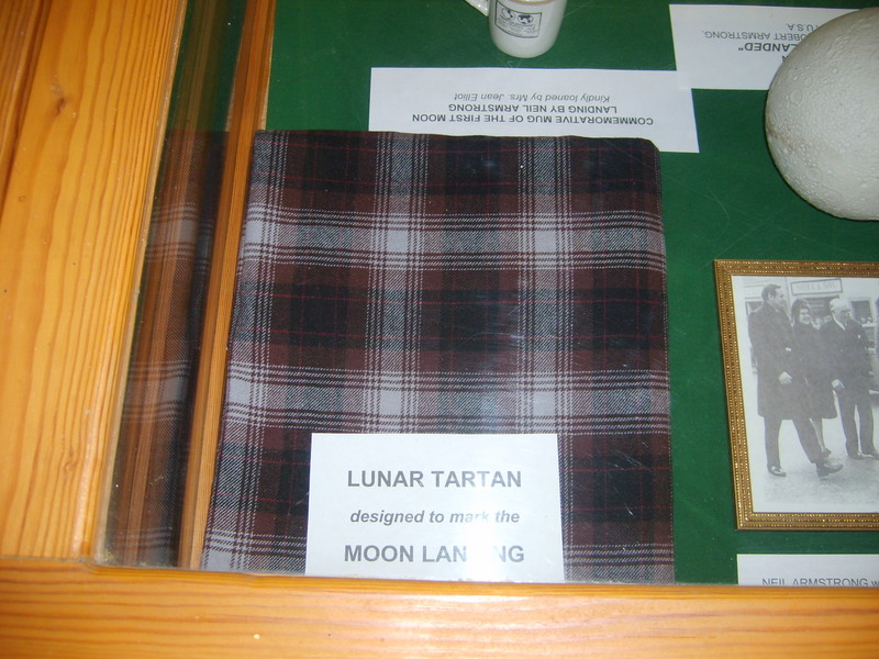 The Lunar tartan, on display at the Clan Armstrong Trust Museum, Langholm, Scotland. Photo courtesy of Alex Cunningham, May 2007.